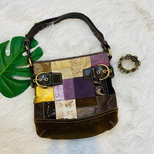 Coach Holiday Edition Patchwork Suede Leather Bag